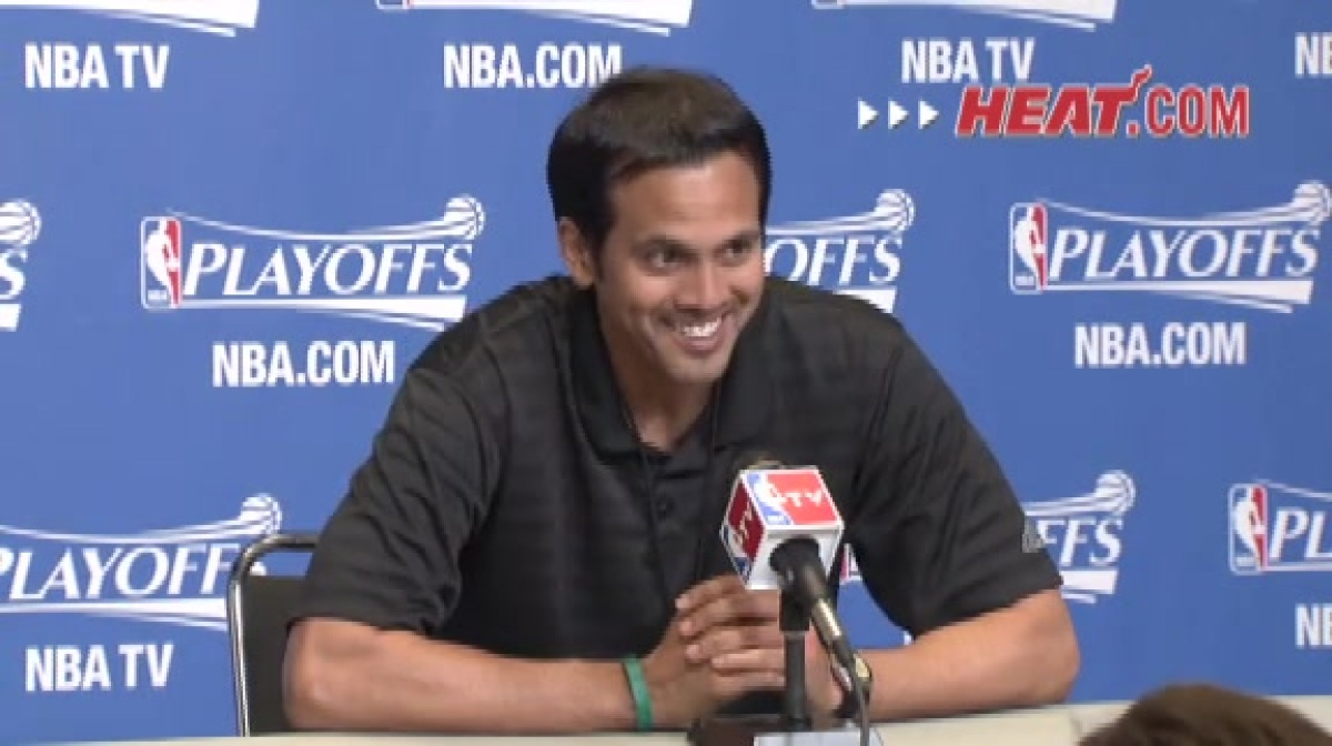 Erik Spoelstra speaks to the media after shootaround.