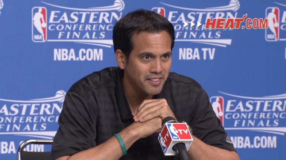Coach Spo speaks to the media after shootaround
