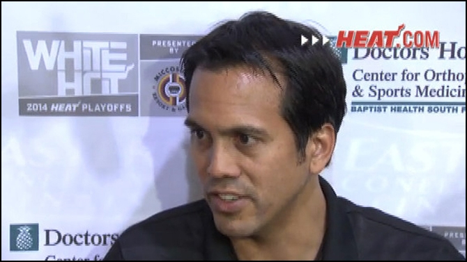 Coach Spo addresses media after practice.