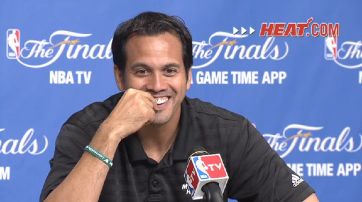 Coach Erik Spoelstra answers media questions after shootaround.