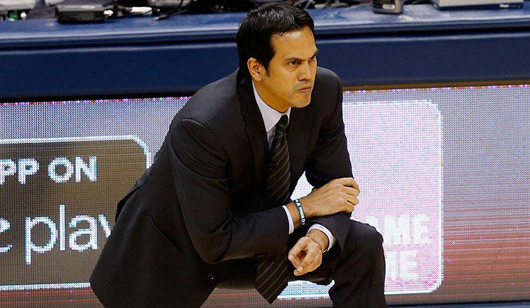 Coach Spoelstra on the sidelines