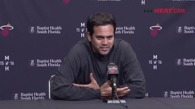 Erik Spoelstra speaks to the media before the Wizards game