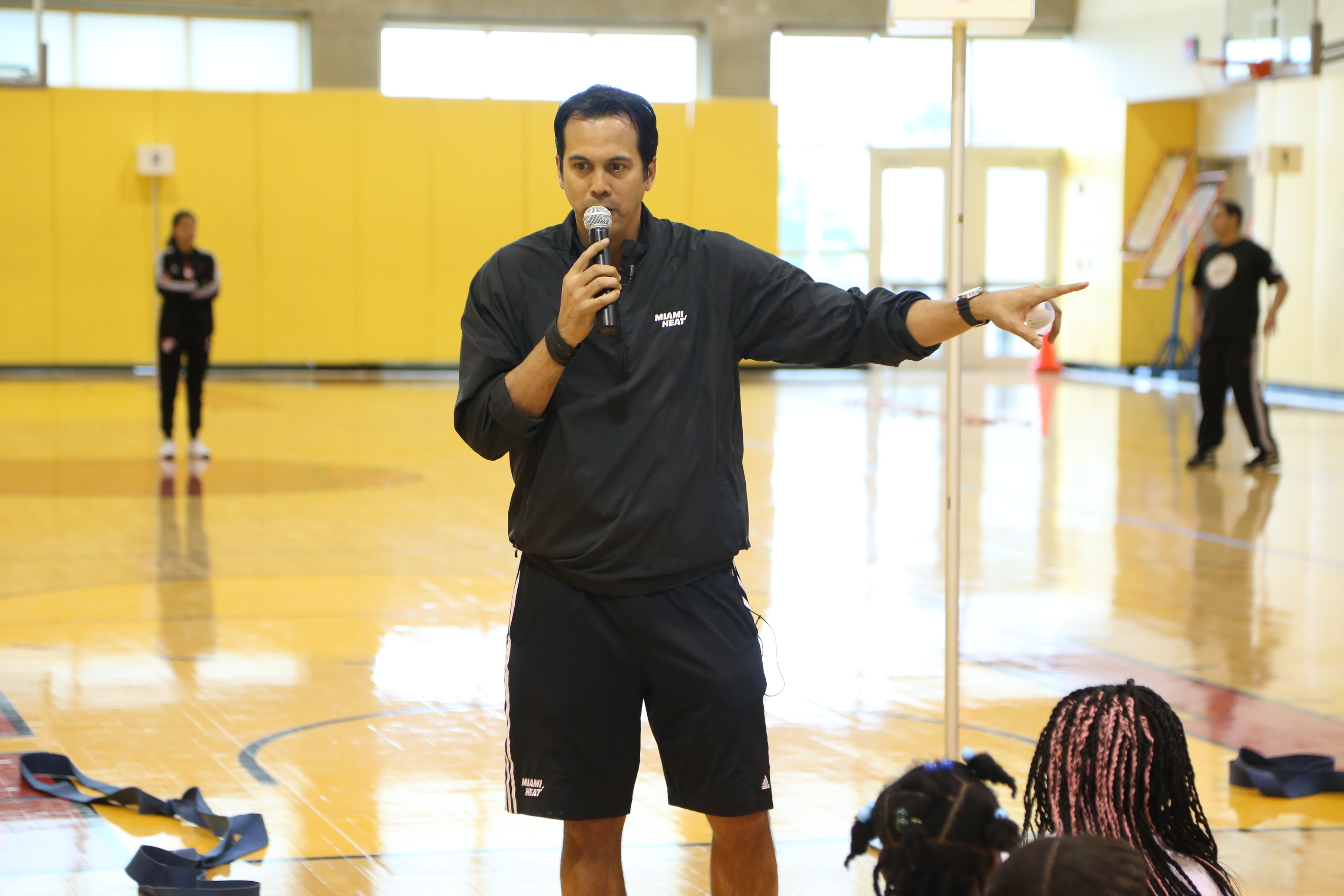 Coach Spo spends the afternoon training a few younger athletes in Tuesday's NBA Fit Youth Fitness Clinic with students from the Miami HEAT Academy, presented by Baptist Health South Florida, Florida Blue & Gatorade