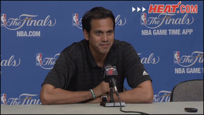 Coach Spo speaks with media members on Monday.