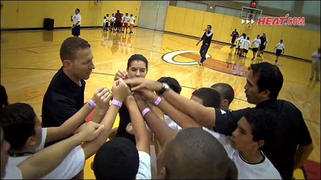 Coach Spoelstra hosts a Fit Clinic for kids in the community.